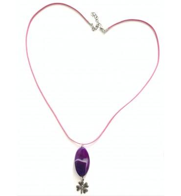 bijou collier fleur violette